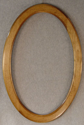 White oval frame